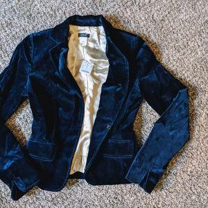 J. Crew velvet blazer in navy size 0